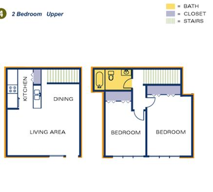 Timber Top  2 BR upper floorplan