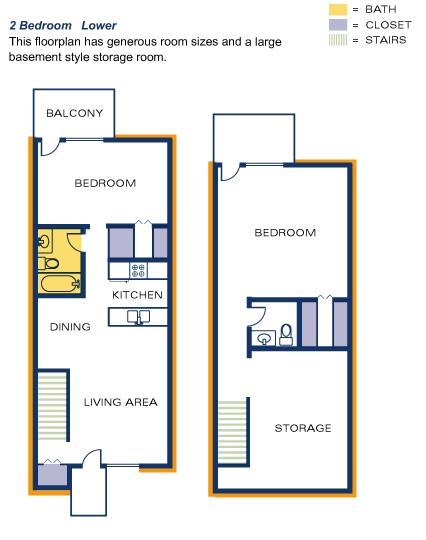 Timber Top floorplan 2 BR lower with storage