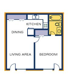 Timber Top 1 BR floorplan side by side