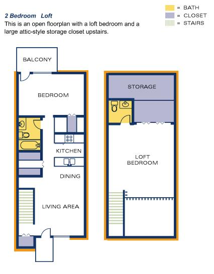 Timber Top 2 BR loft floorplan